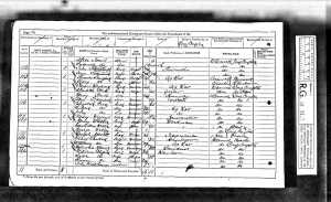 The 1871 census, showing Ann Tennant living next door to her murder James Hayward (with his mother and stepfather). From Ancestry.