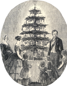 Victoria and Albert with their Christmas tree in 1848