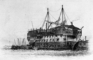 The prison ship, or hulk, York, where Goodyer Long was sent.